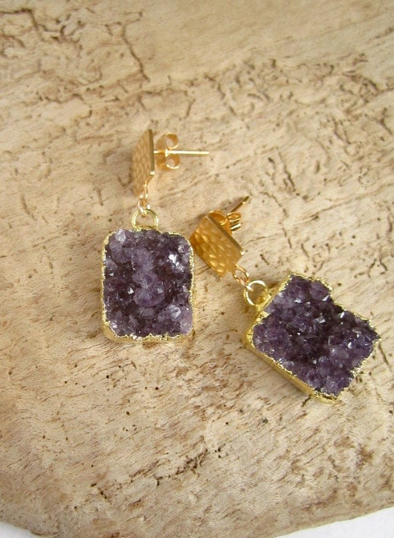 Amethyst Druzy Earrings Drusy Quartz Gold Vermeil Hammered Posts