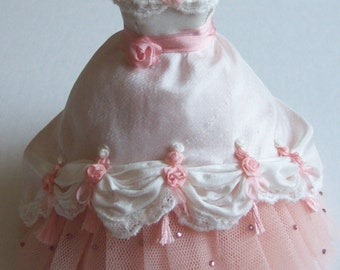 Beautiful Handmade 1/12 scale dollhouse miniature ivory silk and pink net ballgown on mannequin