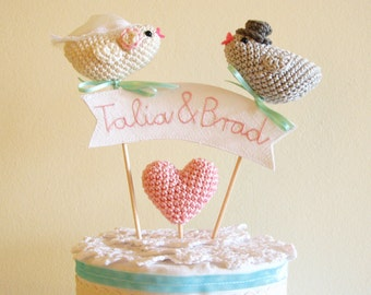 Custom Wedding Bird Cake Topper with Embroidery Names on Linen Sign, Cake Decor by Cherrytime