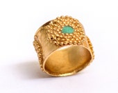 Wide gold ring, Turquoise and gold ring, Unique gold ring, Antique style ring, Ethnic ring