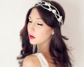 Whimsical Wedding Flower Crown, White Tiara, Crystals, fairy wedding, bridal, flower girl - SOLANGE - - by DeLoop