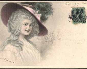 1906 WOMAN W/Huge FEATHERED HAT French Depose Antique used Fashionable colored Post Card