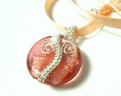 RESERVED Peach glass pendant,  feminine necklace, wire wrapped handmade jewelry