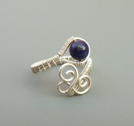 Lapis sterling silver ring, indigo blue stone ring, silver jewelry, handmade adjustable ring