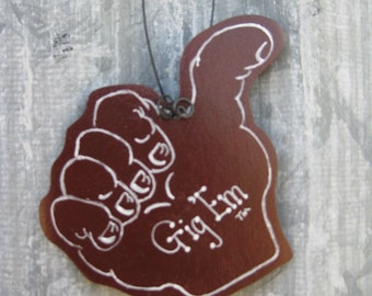 Aggie thumb - Gig Em - Texas Aggie wooden ornament - personalized for free