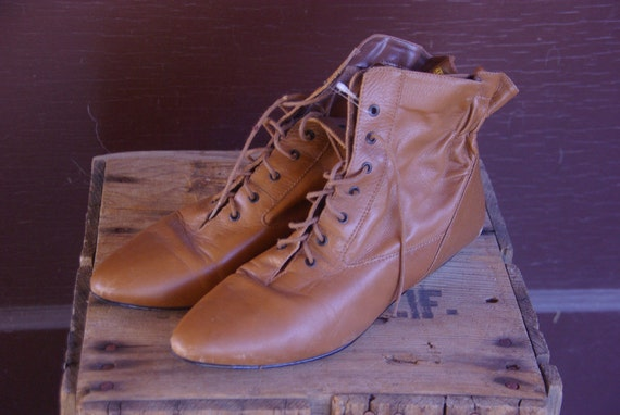 Vintage 1980s Leather Granny Booties with Elastic 9