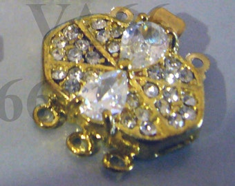 Big Clasps 2p Rhinestone 3-strand 18K Gold Plated Clasps Findings G31 for Jewelry Making Supplies