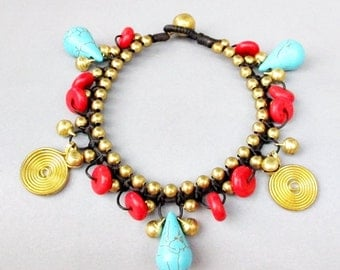 Fantacy Bracelet with Turquoise and Coral  Stone B176