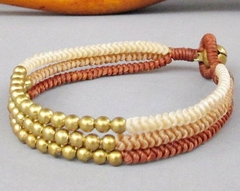 Multi Line Brass Bead Ivory Sandybrown Walnut Wax Cord Snake Knot Bracelet B155