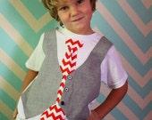 boys Valentine shirt, Christmas chevron tie shirt, Sibling Christmas outfit