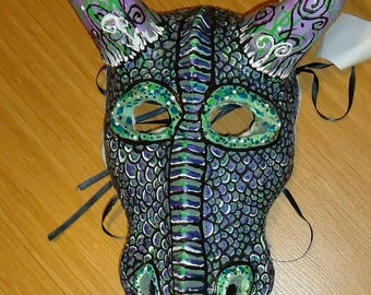Dragon Mask, paper mache clay sculpture Masquerade OOAK Costume mask, horned Halloween mask,