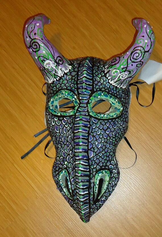 Dragon Mask, paper mache clay sculpture Masquerade OOAK Costume mask, horned Halloween mask,