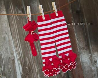 Christmas Leg Warmers - Baby First Christmas Leg Warmers and Ruffle Headband Set - Baby Girl Toddler Leg Warmer Set