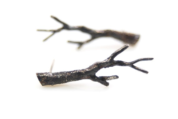 sterling silver twig earrings- branch earrings- handmade artisan jewelry- OOAK- Winter Branch