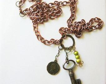 Copper Charm Necklace with Mixed-Metal Charms C-3