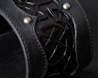 "Leather Cuff, Leather Bracelet: Black Leather Cuff with a Celtic Design ""Celtic Black Beauty Cuff"""