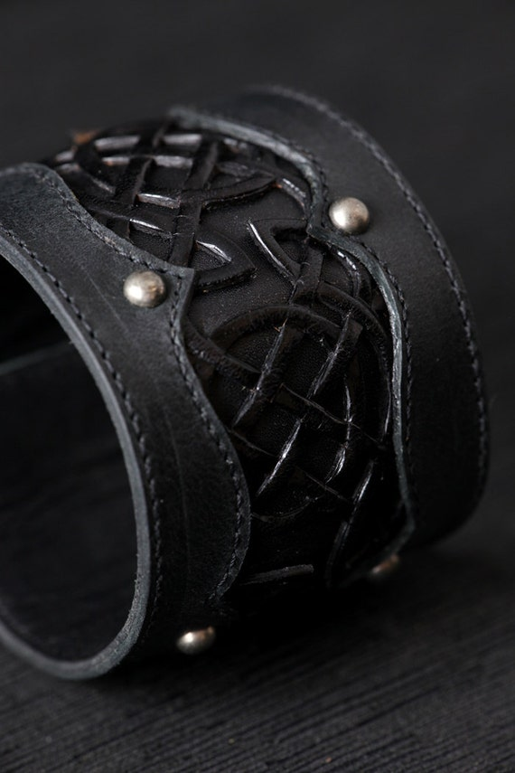 "Leather Cuff, Leather Bracelet: Black Leather Cuff with a Celtic Design ""Celtic Black Beauty Cuff"""