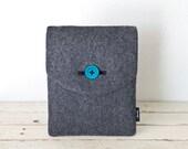 """Kindle Fire Case, Nook, Tablet or eBook Reader Case - """"Soul Sleeve"""" Blue (eco-fi grey felt)"""