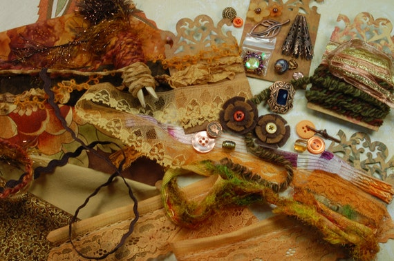 Rustling Leaves. Inspiration Kit. Neapolitan Collection. Textile/Embellishment Kit. Brown, pumpkin, antique gold No 86a