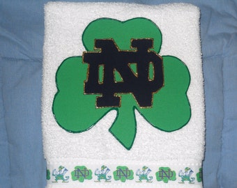 Fighting Irish Notre Dame  Hand Towel, Notre Dame Bathroom Towel, Notre Dame Kitchen Towel, Notre Dame Fan Gift, Notre Dame Grad Gift