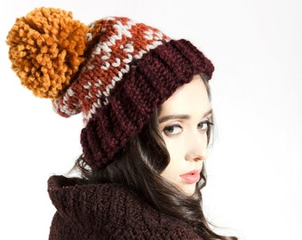 Ski Sweater Pom Pom Hat - Fair Isle Print- Burg, Spice, Orange