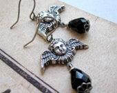 Angel Earrings - Silver - Black - Cherubs - Baroque - Gift Under 30 - Victorian - Wings - Babies