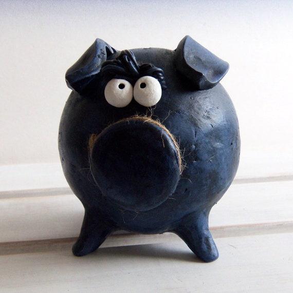 Large Piggy Banks -- Dark Blue Boy Piggy Bank for BABY BOY SHOWER Party