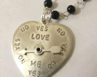 Spinner Arrow Heart Necklace Love Meter