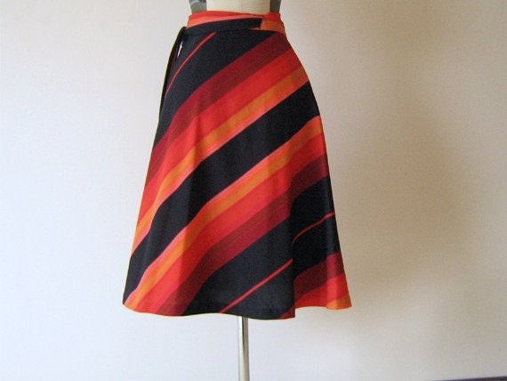 Hawaiian Sunset Stripe Wrap Skirt
