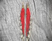 Color Block Fringe Earrings - Shoulder Dusters - Brass, Flame, Gold, Cream, Seed Bead Earrings, Tribal Jewelry, Boho, Artisan, OOAK