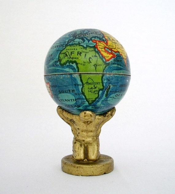 RESERVED for Neil Dunlop - 1920's World Globe Held by Atlas - Pencil Sharpener - Made in Germany