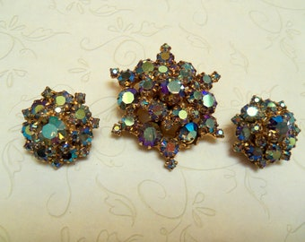 Vintage Pin Brooch and Earrings Set, Blue Aurora Borealis Rhinestones, 1960