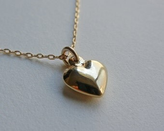 Small Puffed Heart Necklace (Gold)