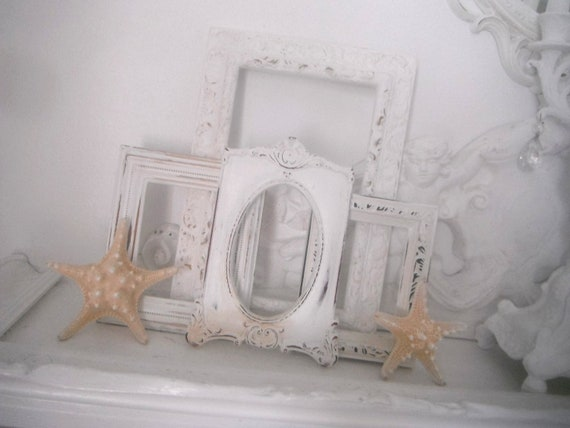 shabby chic picture frames vintage style OOAK open frame set photo frames French country ornate wall decor