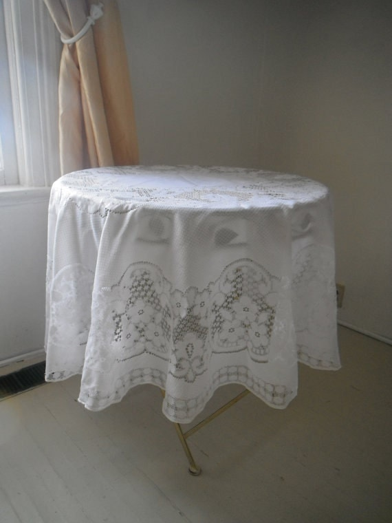 floral oval tablecloth shabby chic white lace tablecloth vintage wedding decor French country cottage decor