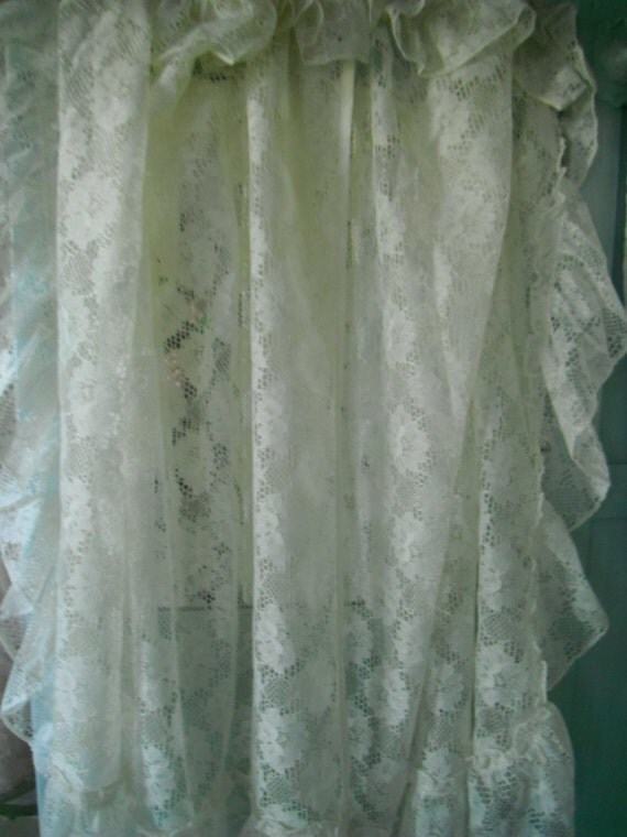 ruffle sheers shabby chic ruffle curtains off white patterned vintage curtains country chic beach house farmhouse victorian decor