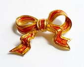 Vintage Castlecliff Bow Brooch Orange Yellow Gold Enamel