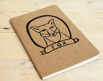 Back to School Fox in a Frame Notebook Moleskine Journal Hand Carved Stamp Summer Nature Camp Travel Writer Birthday Present