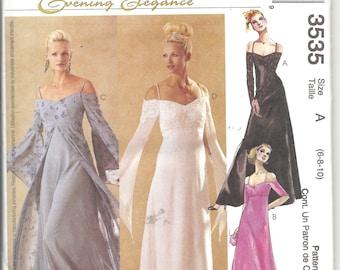 McCall's Evening Elegance Dress Sewing Pattern 3535 Uncut B30.5-32.5 Size 6 8 10