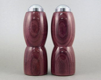 Salt and Pepper Shakers - Handmade Purpleheart with chrome caps