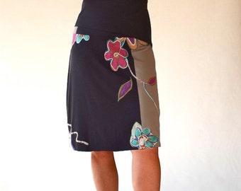 Multi colors flower embellished women skirts/Knee length bottoms/cotton short skirts