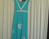 Reconstructed Recycled EcoFriendly Girls' Dress Sleeveless Sz Small Turquoise with Oriental Asian White and Turquoise Awesome
