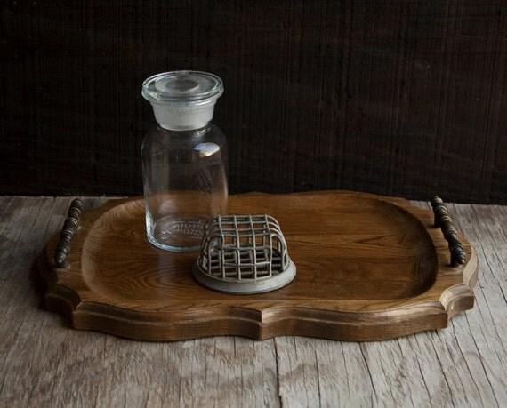 Wooden Vanity Tray with Handles - Vintage Rustic Victorian