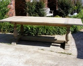 Handcrafted Weathered Gray Large Trestle Dining Table Beautiful Hand Carved Legs