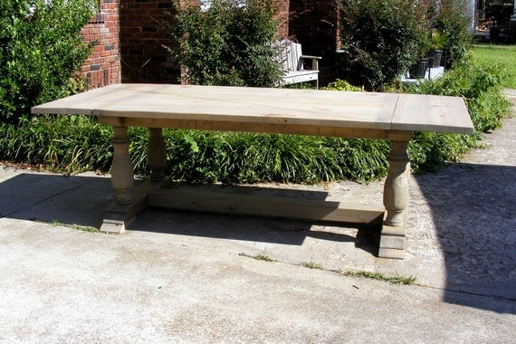 handcrafted weathered gray large trestle dining table beautiful hand carved  legs - Gray Dining Table. Refinished Dining Table In Weathered Gray. 2 X