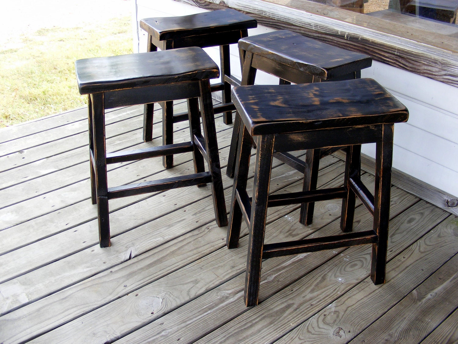 Saddle Stools Distressed BLACK Set of 4 by TheWoodworkMan  : ilfullxfull384021370f15w from www.etsy.com size 1500 x 1125 jpeg 451kB