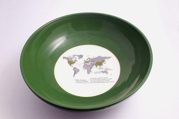 Map of World Bowl with Found Art in Green and White on SALE - 50% OFF Original Price of 50.00