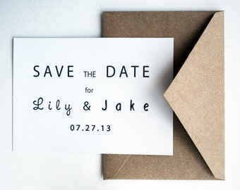 Wedding Save the Date -- The Modern Couple -- Customizable Set -- CHOOSE YOUR QUANTITY
