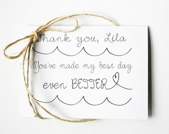 Thank You for Being My Bridesmaid -- Personalized Set of Cards & Envelopes for your Wedding Party -- CHOOSE YOUR QUANTITY