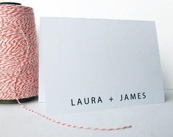 Personalized Stationery / Wedding Thank You -- The Couple's Card -- Modern His & Hers -- Folded Card / Envelope Set -- CHOOSE YOUR QUANTITY